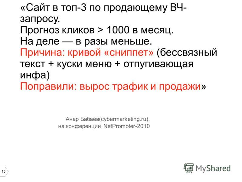 13 «Сайт в топ-3 по продающему ВЧ- запросу. Прогноз кликов > 1000 в месяц. На деле в разы меньше. Причина: кривой «сниппет» (бессвязный текст + куски меню + отпугивающая инфа) Поправили: вырос трафик и продажи» Анар Бабаев(cybermarketing.ru), на конф