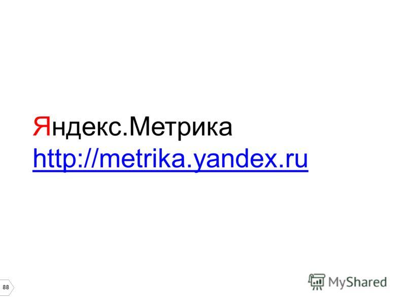 88 Яндекс.Метрика http://metrika.yandex.ru