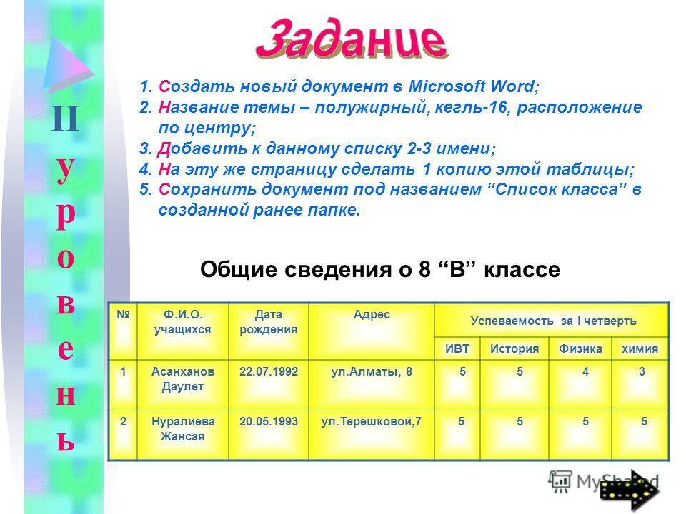 1. Создать новый документ в Microsoft Word; 2. Название темы – полужирный, кегль-16, расположение по центру; 3. Добавить к данному списку 2-3 имени; 4. На эту же страницу сделать 1 копию этой таблицы; 5. Сохранить документ под названием Список класса
