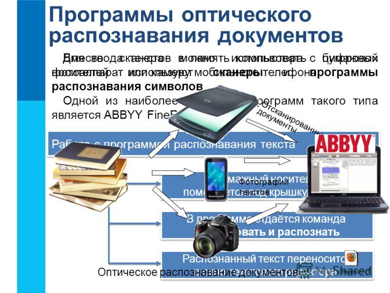 Программы оптического распознавания документов Для ввода текстов в память компьютера с бумажных носителей используют сканеры и программы распознавания символов. Одной из наиболее известных программ такого типа является ABBYY FineReader. Бумажный носи