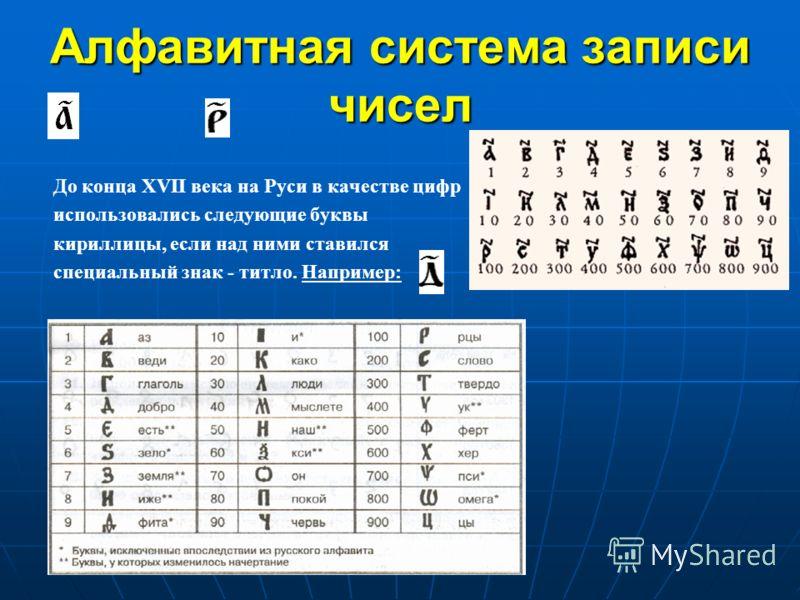 Алфавитная система записи чисел До конца XVII века на Руси в качестве цифр использовались следующие буквы кириллицы, если над ними ставился специальный знак - титло. Например: