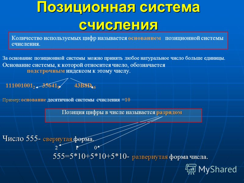 Позиционная система счисления Количество используемых цифр называется основанием позиционной системы счисления. За основание позиционной системы можно принять любое натуральное число больше единицы. Основание системы, к которой относится число, обозн