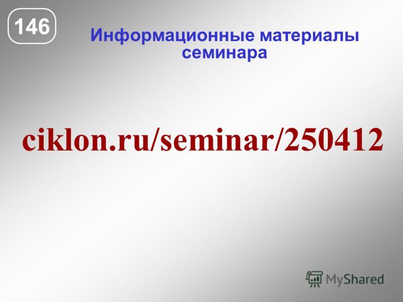 Информационные материалы семинара 146 ciklon.ru/seminar/250412