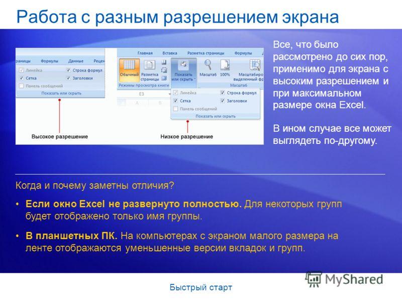 Быстрый старт Работа с разным разрешением экрана Все, что было рассмотрено до сих пор, применимо для экрана с высоким разрешением и при максимальном размере окна Excel. В ином случае все может выглядеть по-другому. Если окно Excel не развернуто полно