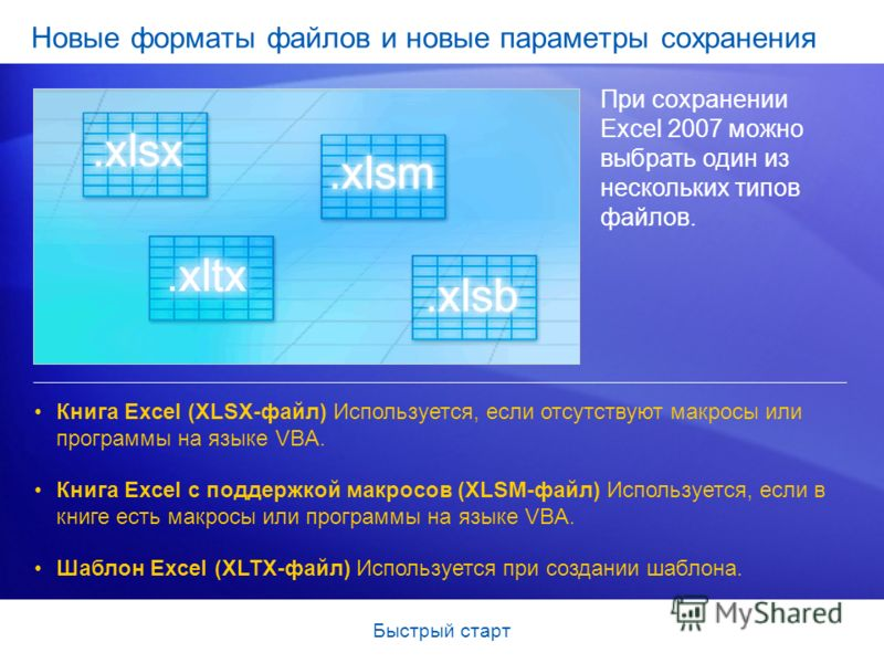 Быстрый старт Новые форматы файлов и новые параметры сохранения При сохранении Excel 2007 можно выбрать один из нескольких типов файлов. Книга Excel (XLSX-файл) Используется, если отсутствуют макросы или программы на языке VBA. Книга Excel с поддержк