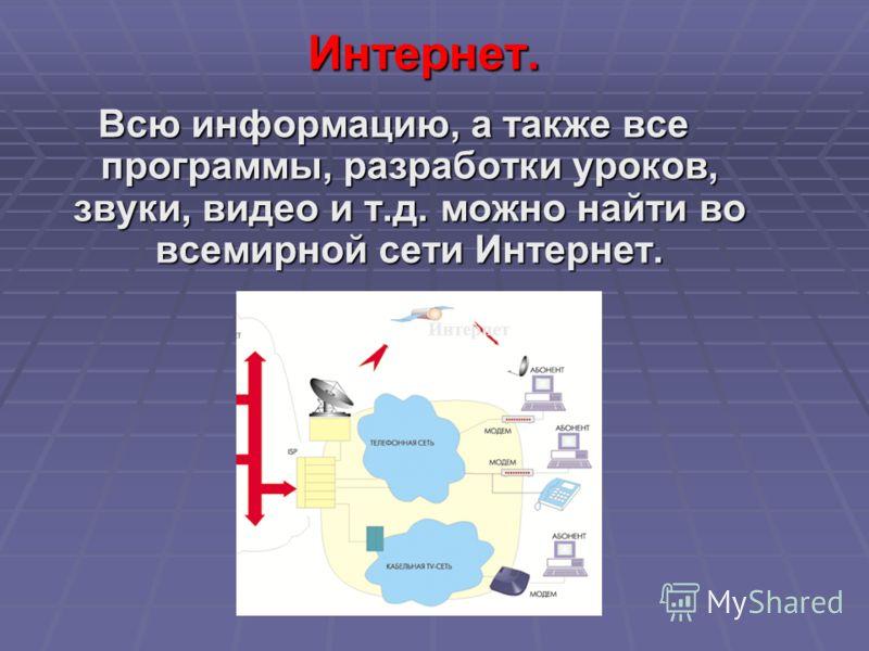 Всю информацию, а также все программы, разработки уроков, звуки, видео и т.д. можно найти во всемирной сети Интернет. Интернет. Интернет