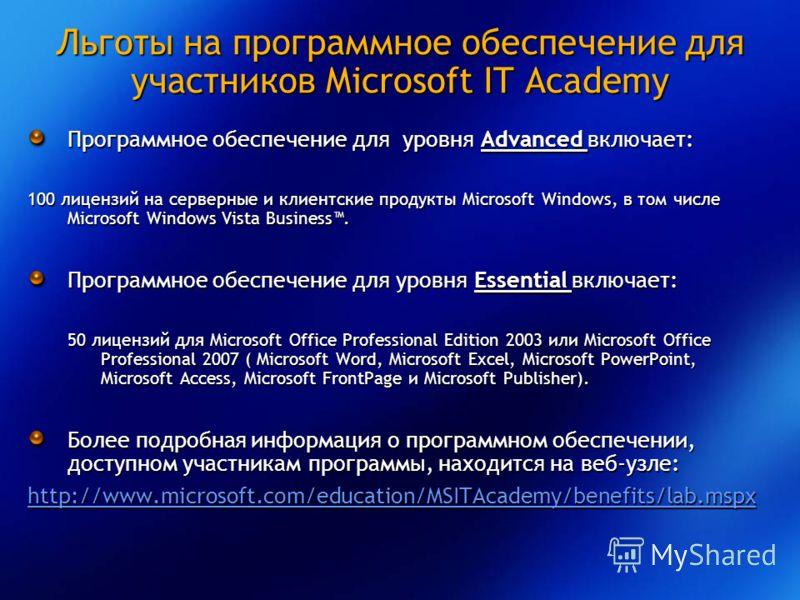 Льготы на программное обеспечение для участников Microsoft IT Academy Программное обеспечение для уровня Advanced включает: 100 лицензий на серверные и клиентские продукты Microsoft Windows, в том числе Microsoft Windows Vista Business. Программное о