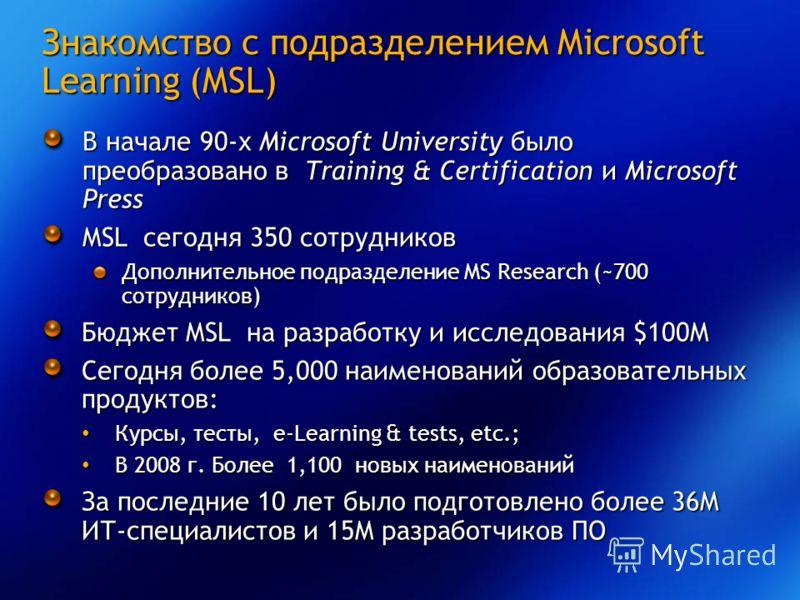 Знакомство с подразделением Microsoft Learning (MSL) В начале 90-х Microsoft University было преобразовано в Training & Certification и Microsoft Press MSL сегодня 350 сотрудников Дополнительное подразделение MS Research (~700 сотрудников) Бюджет MSL