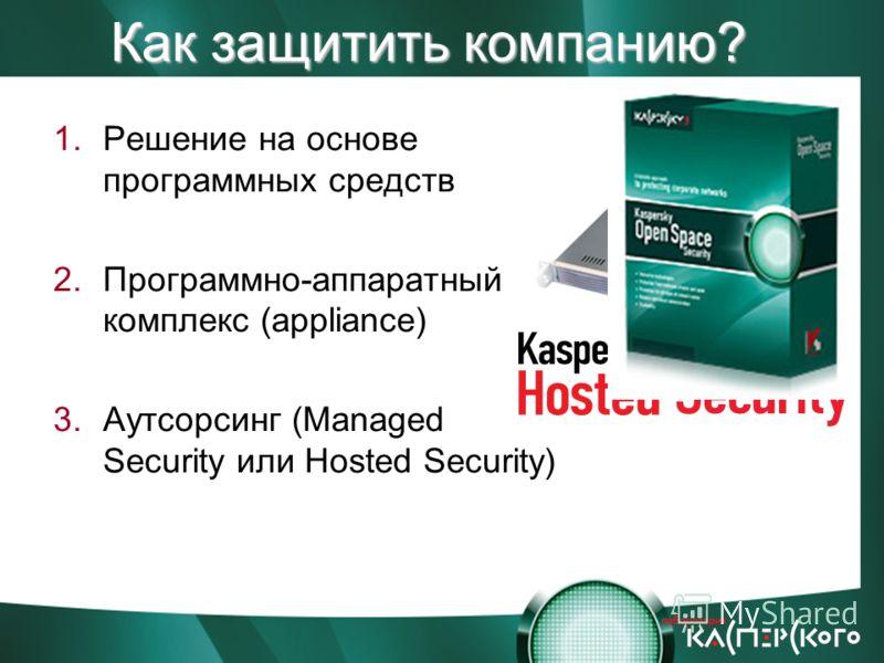 Как защитить компанию? 1.Решение на основе программных средств 2.Программно-аппаратный комплекс (appliance) 3.Аутсорсинг (Managed Security или Hosted Security)