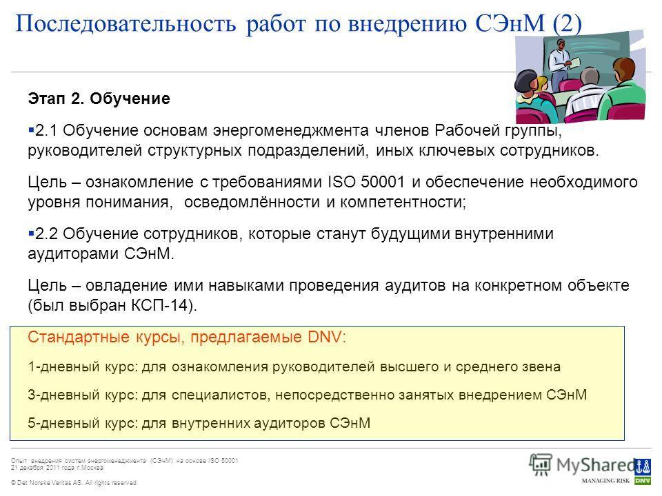 © Det Norske Veritas AS. All rights reserved. Опыт внедрения систем энергоменеджмента (СЭнМ) на основе ISO 50001 21 декабря 2011 года г.Москва Последовательность работ по внедрению СЭнМ (2) Этап 2. Обучение 2.1 Обучение основам энергоменеджмента член