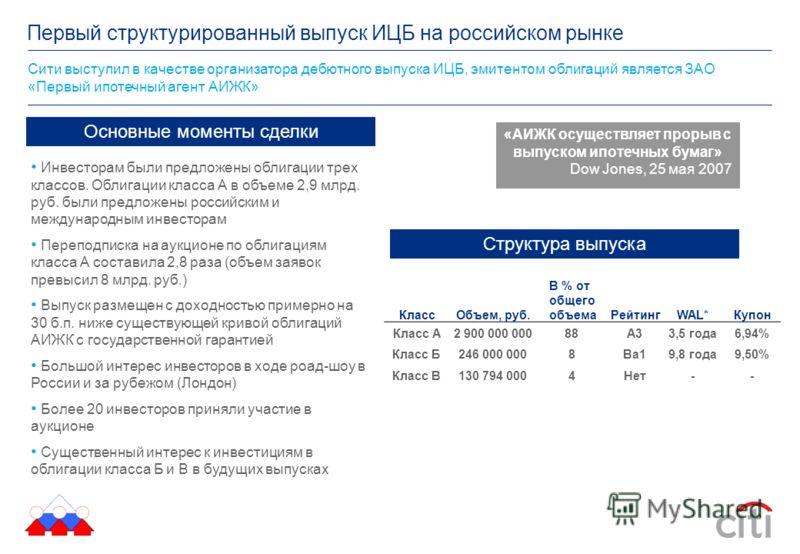 Сити выступил в качестве организатора дебютного выпуска ИЦБ, эмитентом облигаций является ЗАО «Первый ипотечный агент АИЖК» Первый структурированный выпуск ИЦБ на российском рынке «АИЖК осуществляет прорыв с выпуском ипотечных бумаг» Dow Jones, 25 ма