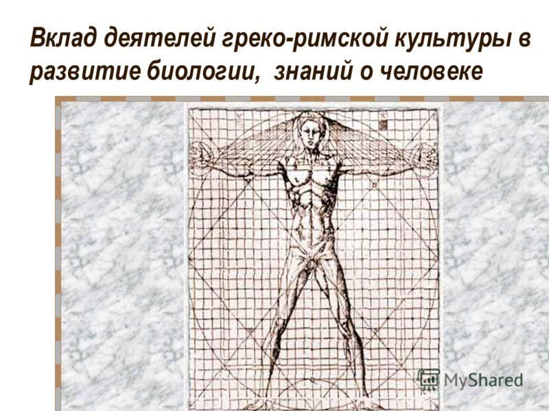 Вклад деятелей греко-римской культуры в развитие биологии, знаний о человеке