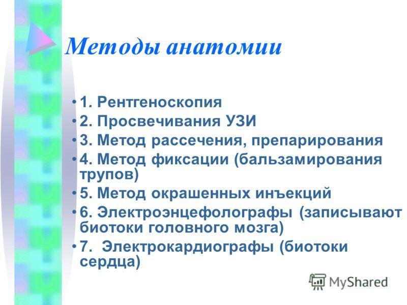 Методы анатомии 1. Рентгеноскопия 2. Просвечивания УЗИ 3. Метод рассечения, препарирования 4. Метод фиксации (бальзамирования трупов) 5. Метод окрашенных инъекций 6. Электроэнцефолографы (записывают биотоки головного мозга) 7. Электрокардиографы (био