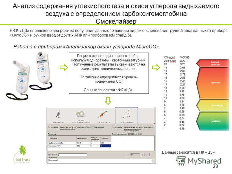 Анализ содержания углекислого газа и окиси углерода выдыхаемого воздуха с определением карбоксигемоглобина Смокелайзер Работа с прибором «Анализатор окиси углерода MicroCO». Пациент делает один выдох в прибор, используя одноразовый картонный загубник