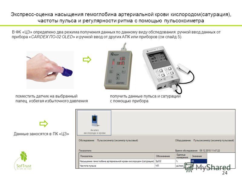 Экспресс-оценка насыщения гемоглобина артериальной крови кислородом(сатурация), частоты пульса и регулярности ритма с помощью пульсоксиметра В ФК «ЦЗ» определено два режима получения данных по данному виду обследования: ручной ввод данных от прибора