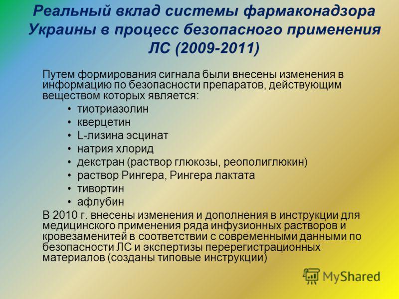 Реальный вклад системы фармаконадзора Украины в процесс безопасного применения ЛС (2009-2011) Путем формирования сигнала были внесены изменения в информацию по безопасности препаратов, действующим веществом которых является: тиотриазолин кверцетин L-