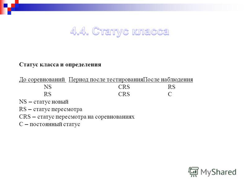 Статус класса и определения До соревнований Период после тестированияПосле наблюдения NSCRSRS RSCRSC NS – статус новый RS – статус пересмотра CRS – статус пересмотра на соревнованиях C – постоянный статус