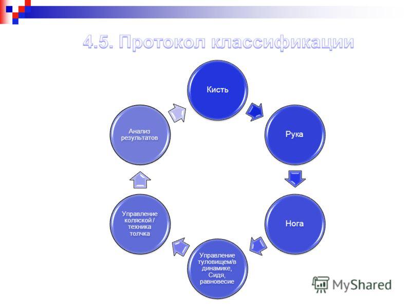 КистьРукаНога Управление туловищем/в динамике, Сидя, равновесие Управление коляской / техника толчка Анализ результатов