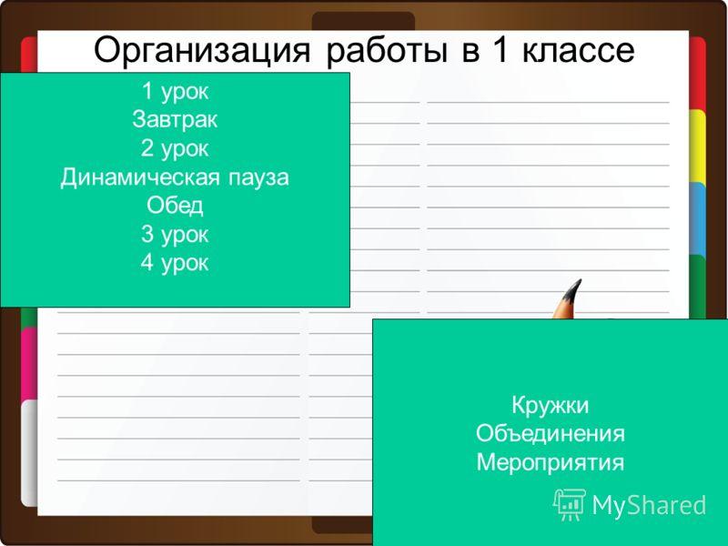 Организация работы в 1 классе 1 урок Завтрак 2 урок Динамическая пауза Обед 3 урок 4 урок Кружки Объединения Мероприятия