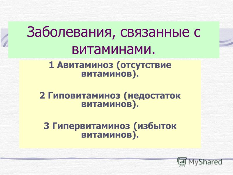 Заболевания, связанные с витаминами. 1 Авитаминоз (отсутствие витаминов). 2 Гиповитаминоз (недостаток витаминов). 3 Гипервитаминоз (избыток витаминов).