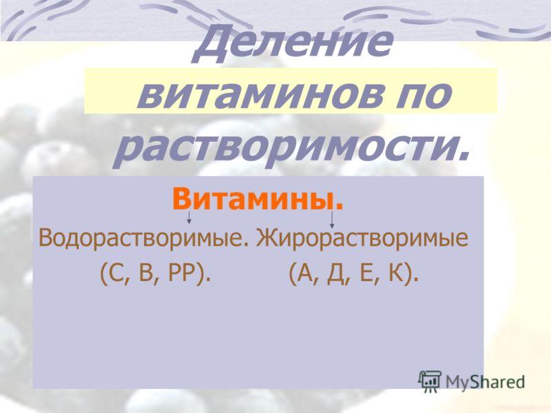 Деление витаминов по растворимости. Витамины. Водорастворимые. Жирорастворимые (С, В, РР). (А, Д, Е, К).