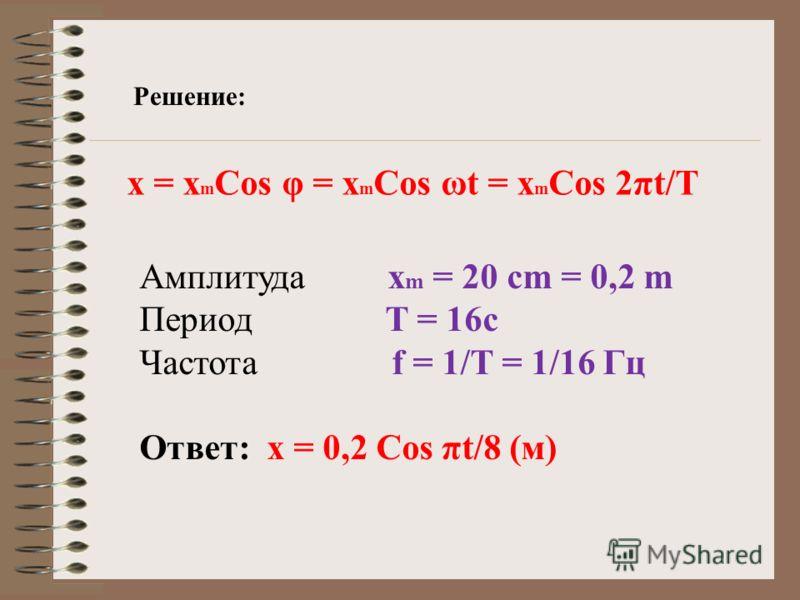 Решение: Амплитуда х m = 20 cm = 0,2 m Период T = 16с Частота f = 1/Т = 1/16 Гц Ответ: х = 0,2 Cos πt/8 (м) х = х m Cos φ = x m Cos ωt = x m Cos 2πt/T