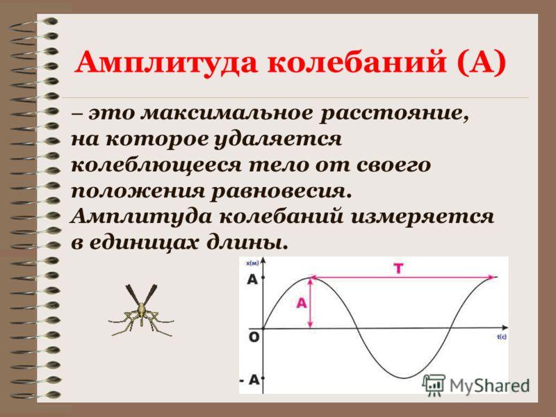 – это максимальное расстояние, на которое удаляется колеблющееся тело от своего положения равновесия. Амплитуда колебаний измеряется в единицах длины. Амплитуда колебаний (А)