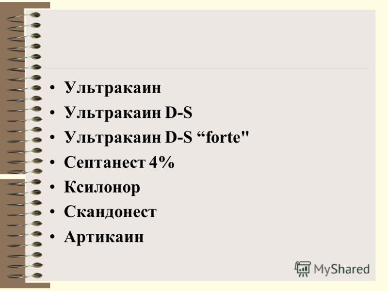 Ультракаин Ультракаин D-S Ультракаин D-S forte Септанест 4% Ксилонор Скандонест Артикаин