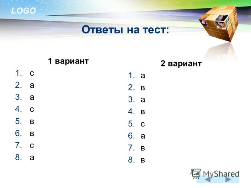 LOGO www.themegallery.com Ответы на тест: 1 вариант 1.с 2.а 3.а 4.с 5.в 6.в 7.с 8.а 2 вариант 1.а 2.в 3.а 4.в 5.с 6.а 7.в 8.в
