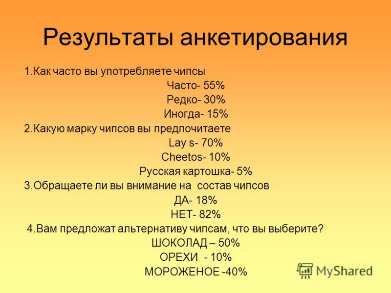 Результаты анкетирования 1.Как часто вы употребляете чипсы Часто- 55% Редко- 30% Иногда- 15% 2.Какую марку чипсов вы предпочитаете Lay s- 70% Cheetos- 10% Русская картошка- 5% 3.Обращаете ли вы внимание на состав чипсов ДА- 18% НЕТ- 82% 4.Вам предлож