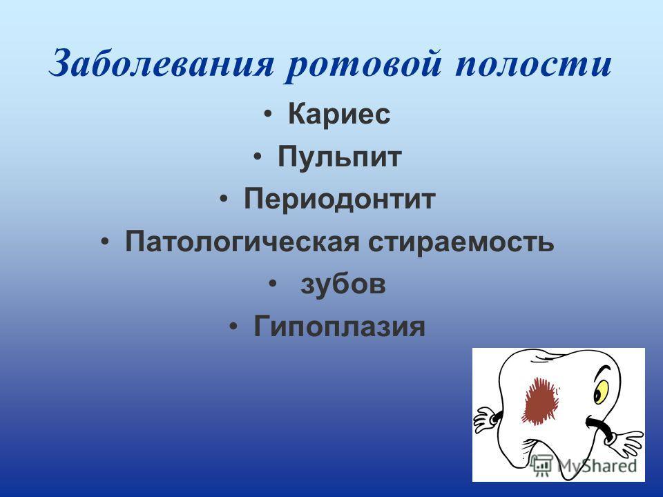 Заболевания ротовой полости Кариес Пульпит Периодонтит Патологическая стираемость зубов Гипоплазия