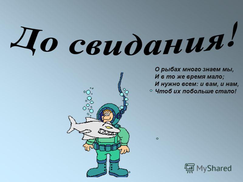 О рыбах много знаем мы, И в то же время мало; И нужно всем: и вам, и нам, Чтоб их побольше стало!