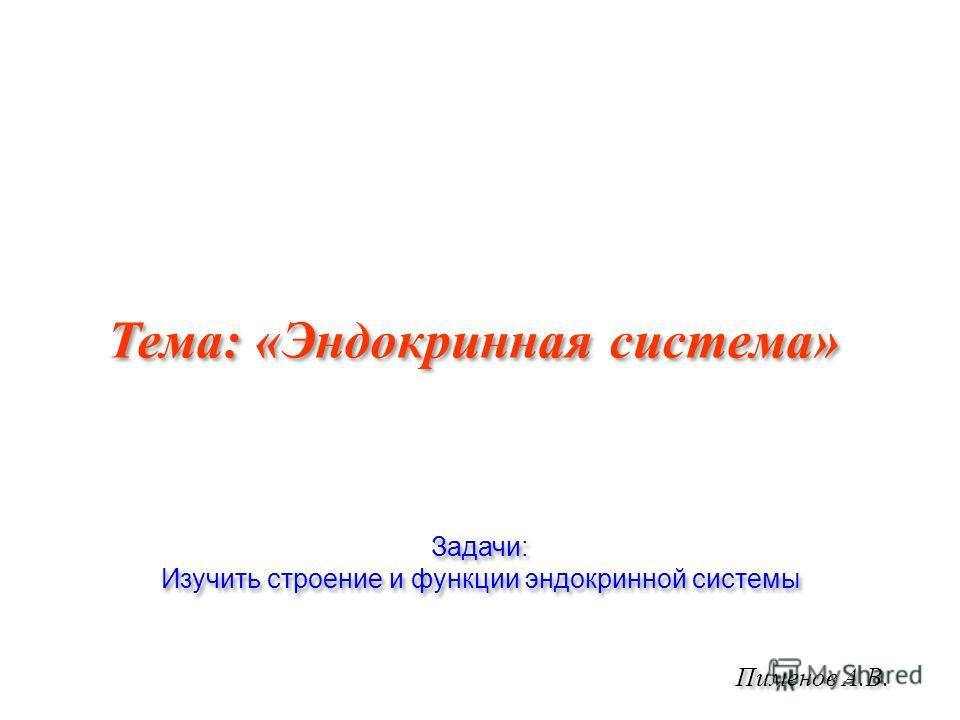 Пименов А.В. Тема: «Эндокринная система» Задачи: Изучить строение и функции эндокринной системы Задачи: Изучить строение и функции эндокринной системы