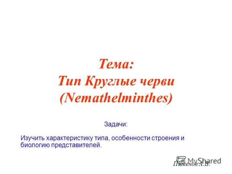 Тема: Тип Круглые черви (Nemathelminthes) Пименов А.В. Задачи: Изучить характеристику типа, особенности строения и биологию представителей.