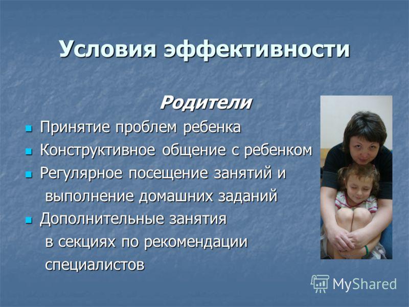 Условия эффективности Родители Принятие проблем ребенка Принятие проблем ребенка Конструктивное общение с ребенком Конструктивное общение с ребенком Регулярное посещение занятий и Регулярное посещение занятий и выполнение домашних заданий Дополнитель