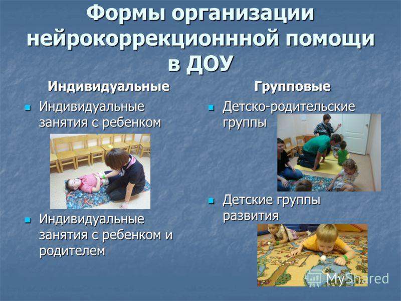Формы организации нейрокоррекционнной помощи в ДОУ Индивидуальные Индивидуальные занятия с ребенком Индивидуальные занятия с ребенком Индивидуальные занятия с ребенком и родителем Индивидуальные занятия с ребенком и родителем Групповые Детско-родител