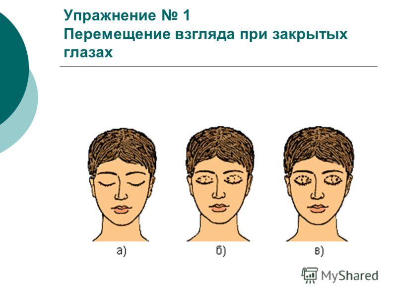 Упражнение 1 Перемещение взгляда при закрытых глазах