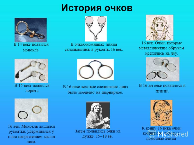 История очков В 14 веке появился монокль. В 15 веке появился лорнет. 16 век. Монокль лишился рукоятки, удерживался у глаза напряжением мышц лица. В очках-ножницах линзы складывались в рукоять. 16 век. В 16 веке жесткое соединение линз было заменено н