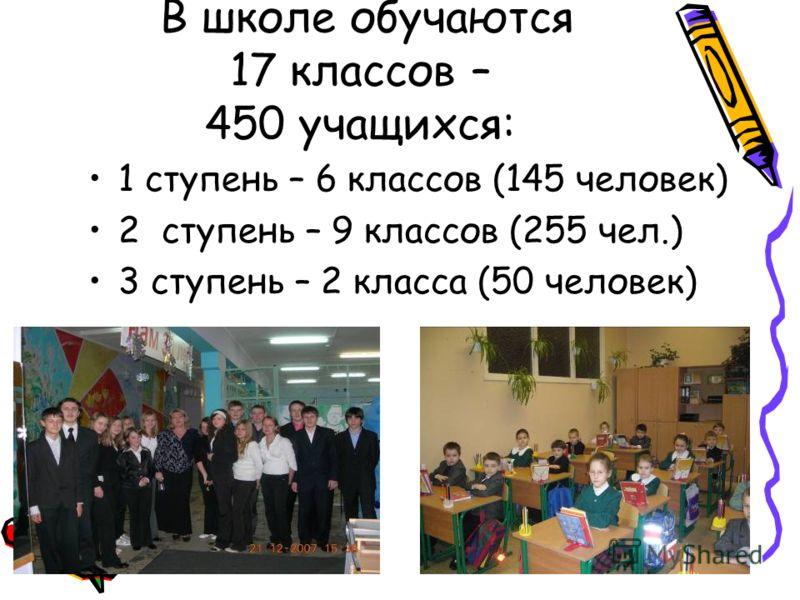 В школе обучаются 17 классов – 450 учащихся: 1 ступень – 6 классов (145 человек) 2 ступень – 9 классов (255 чел.) 3 ступень – 2 класса (50 человек)