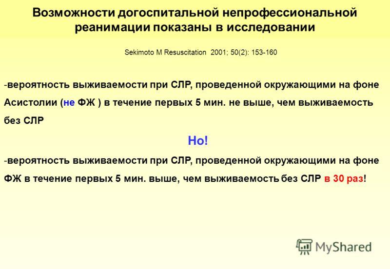 -вероятность выживаемости при СЛР, проведенной окружающими на фоне Асистолии (не ФЖ ) в течение первых 5 мин. не выше, чем выживаемость без СЛР Но! -вероятность выживаемости при СЛР, проведенной окружающими на фоне ФЖ в течение первых 5 мин. выше, че