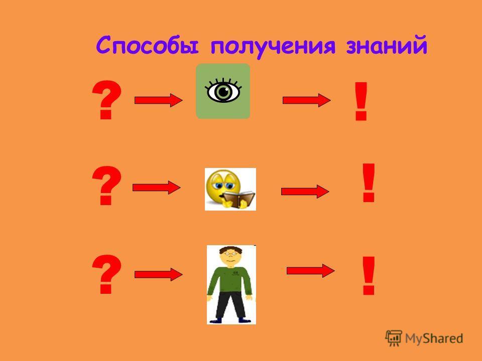 Способы получения знаний ! ? ? ? ! !