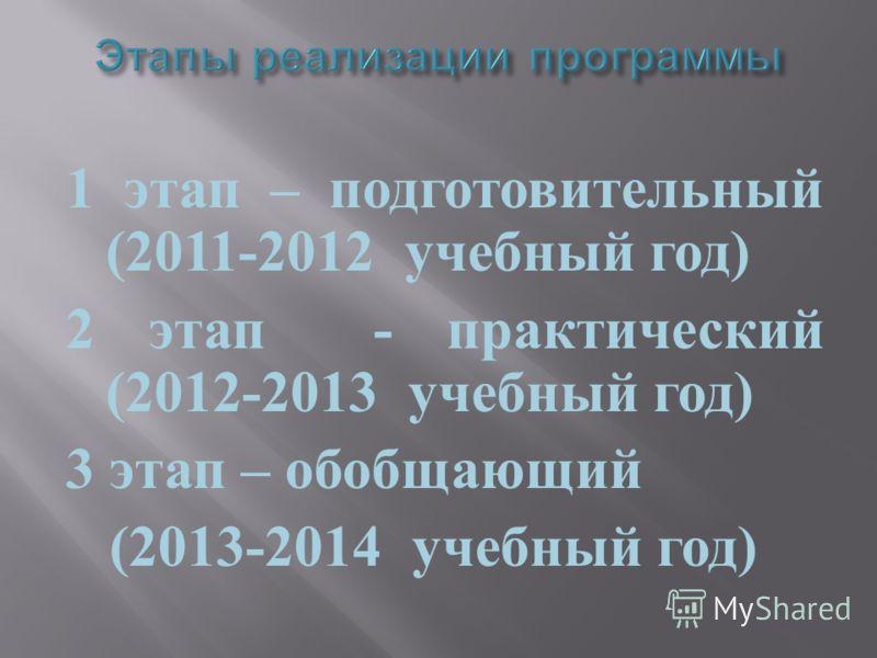 1 этап – подготовительный (2011-2012 учебный год ) 2 этап - практический (2012-2013 учебный год ) 3 этап – обобщающий (2013-2014 учебный год )