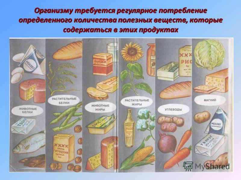 Организму требуется регулярное потребление определенного количества полезных веществ, которые содержаться в этих продуктах