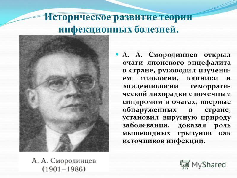 Историческое развитие теории инфекционных болезней. Е. Н. Павловский (1884- 1966) создал теорию природной очаговости ряда инфекционных забо- леваний, согласно которой обеспечивается стойкое сохранение возбудителя.