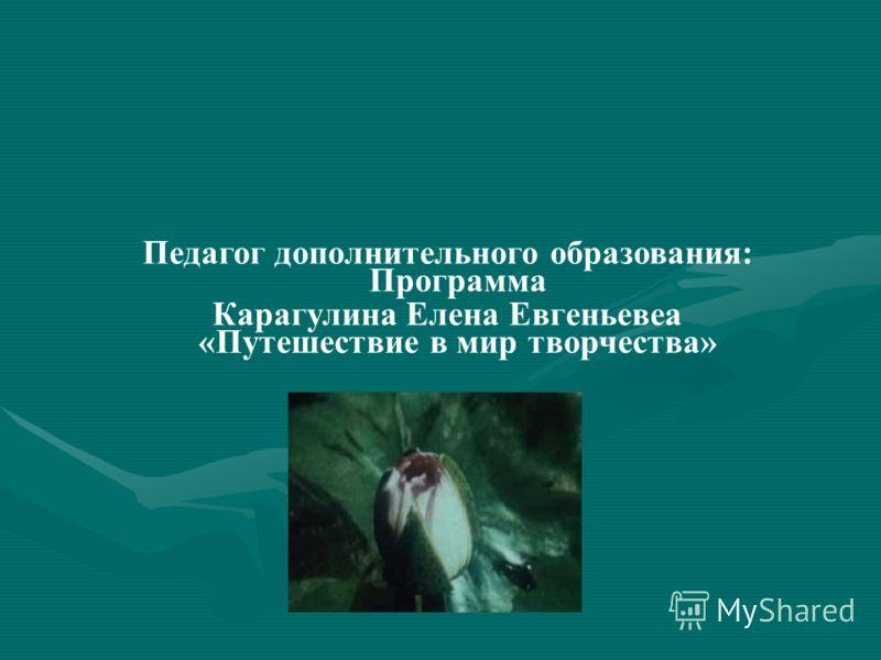 Программа «Путешествие в мир творчества» Педагог дополнительного образования: Карагулина Елена Евгеньевеа