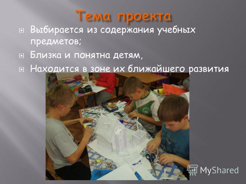 Выбирается из содержания учебных предметов; Близка и понятна детям, Находится в зоне их ближайшего развития