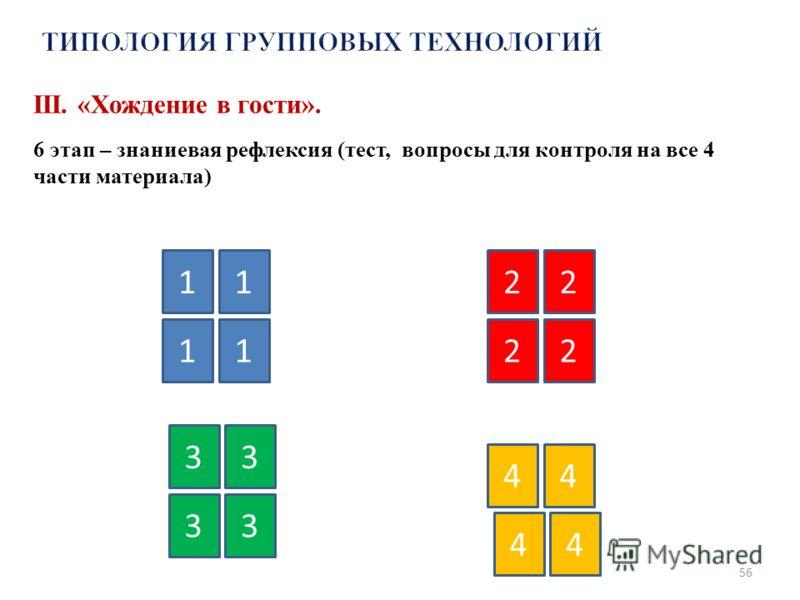 56 11 11 2 22 2 3 4 33 3 44 4 III. «Хождение в гости». 6 этап – знаниевая рефлексия (тест, вопросы для контроля на все 4 части материала)