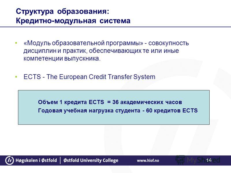 14 Структура образования: Кредитно-модульная система «Модуль образовательной программы» - совокупность дисциплин и практик, обеспечивающих те или иные компетенции выпускника. ECTS - The European Credit Transfer System Объем 1 кредита ECTS = 36 академ