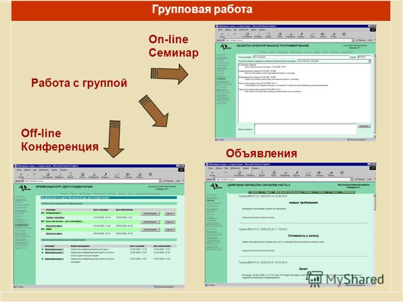 Работа с группой Off-line Конференция Групповая работа Объявления On-line Семинар