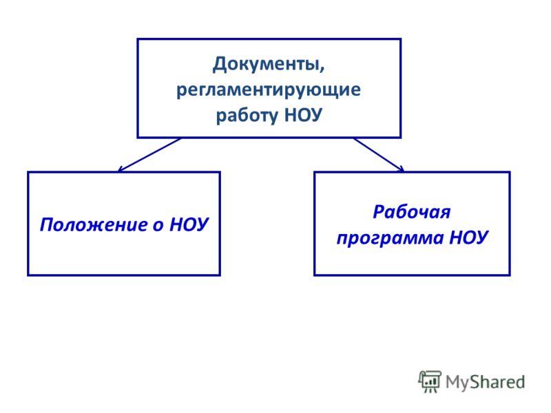 Документы, регламентирующие работу НОУ Положение о НОУ Рабочая программа НОУ